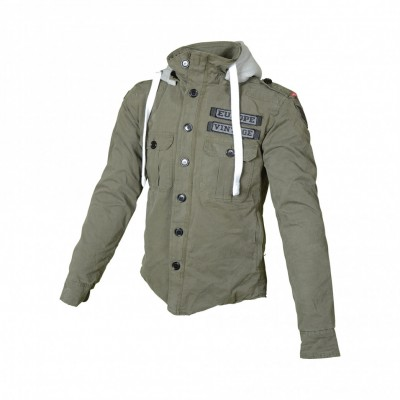 VESTE MOTO TEXTILE HOMME HOODIE ARMY - BOOSTER